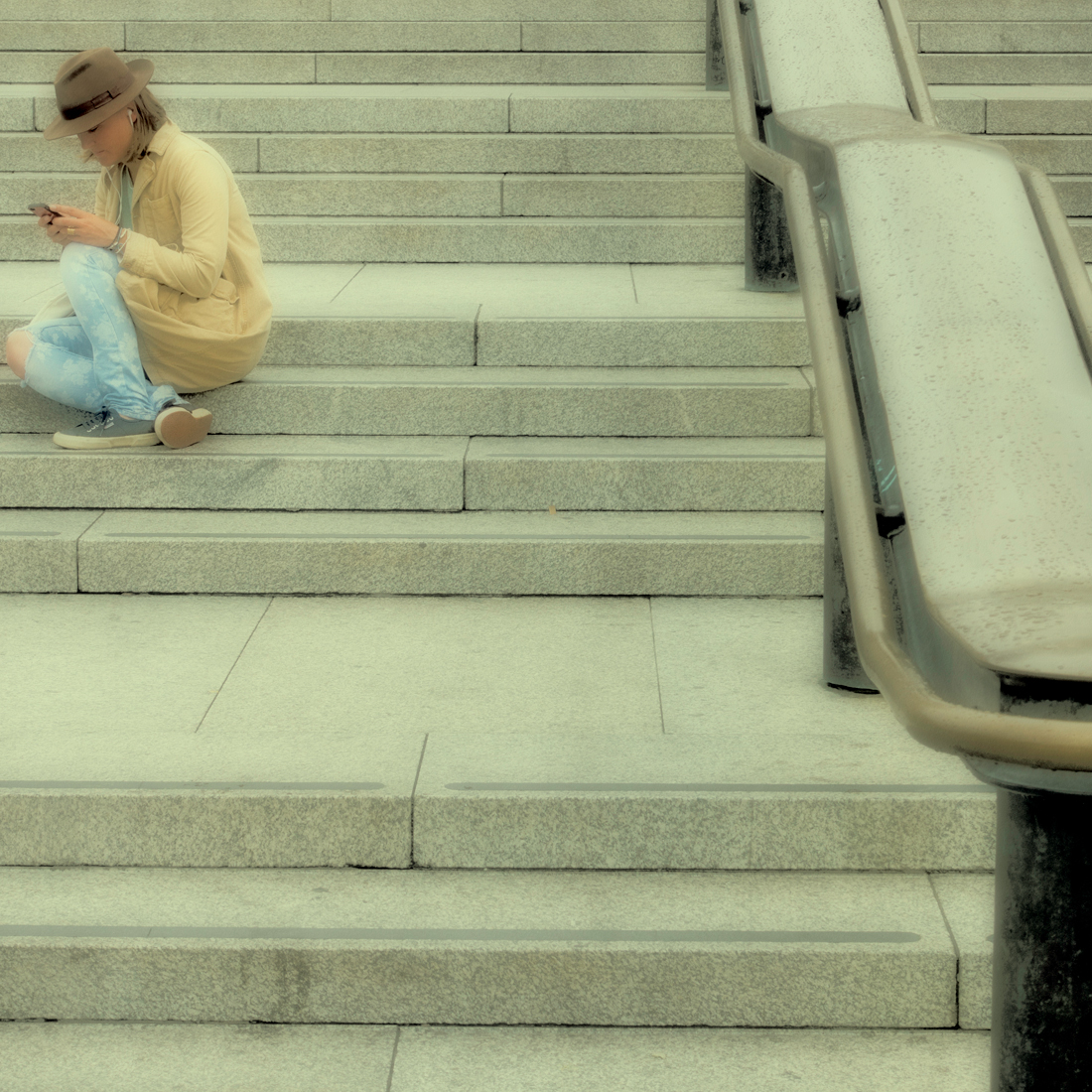 Stairs and Young Girl with Telephone